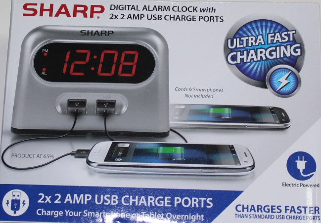 Digital Alarm Clock with 2x 2 AMP USB Charge Ports